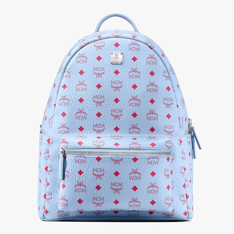 MCM Medium Stark Red Logo Backpack In Sky Blue